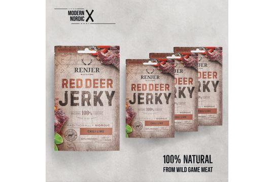 RED DEER JERKY -CHILI LIME -saksanhirven kuivaliha Renjer 25 g ME:12